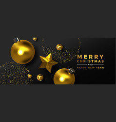christmas new year gold black 3d ornament card vector image