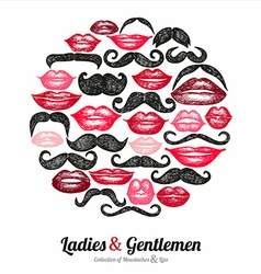 Collection moustaches and lips vector