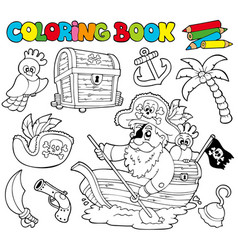 Coloring book with pirates 1 vector