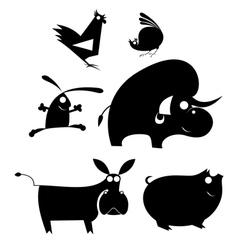 Comic farm animal set vector image