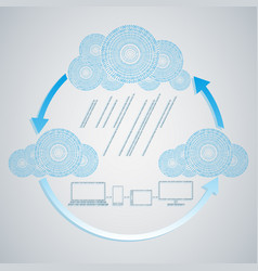 computer blue cloud with rain from numbers and vector image