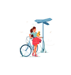 Confusion woman lost with bicycle vector