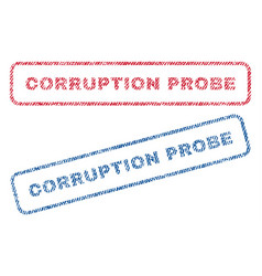 Corruption probe textile stamps vector