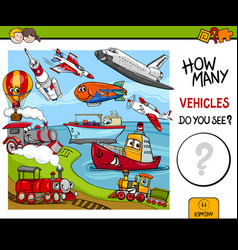 Counting vehicles educational game vector