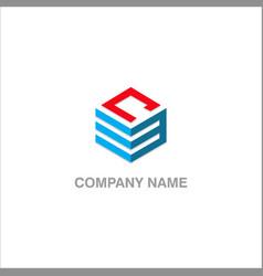 Cube line company logo vector