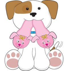 cute puppy slippers vector image