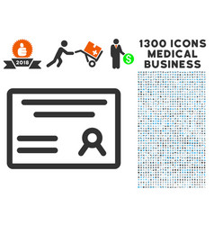 Diploma icon with 1300 medical business icons vector