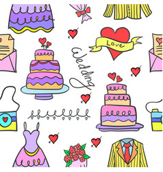 doodle of wedding object style design vector image