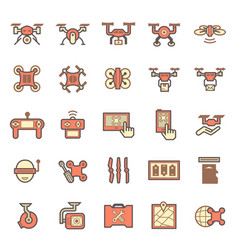drone icon red vector image