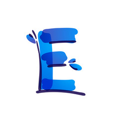 E letter eco logo with blue water drops vector