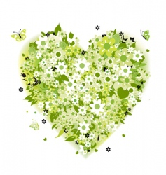 floral heart shape summer green vector image