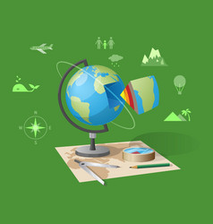 Geography class isolated on green vector