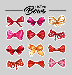 gift bow stickers or patch hand drawn vector image