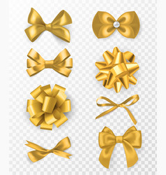 gold decorative bows 3d silk ribbon vector image