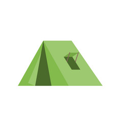 green tent with window for camping icon vector image