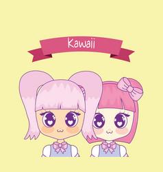 group of cute kawaii girls with ribbon vector image
