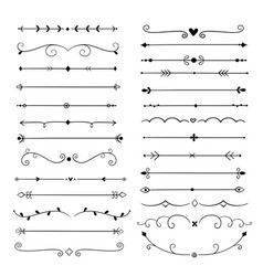 Hand drawn dividers line design elements vintage vector