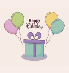 happy birthday card with gift and balloons helium vector image