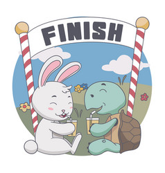 happy rabbit and turtle drink together after race vector image