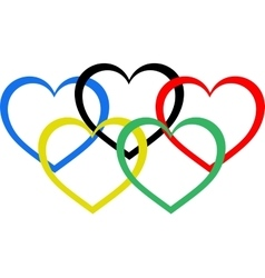 Heart shaped olympic rings vector