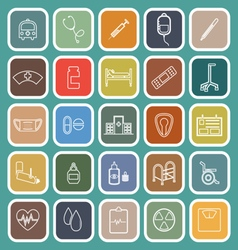 Hospital line flat icons on green background vector image