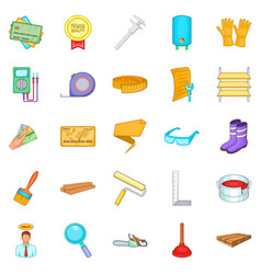 House reconstruction icons set cartoon style vector