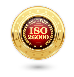 iso 26000 certified medal - social responsibility vector image