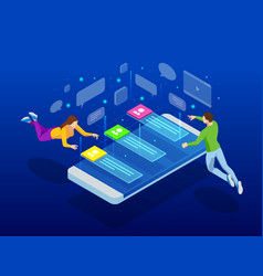 isometric social media network people connecting vector image