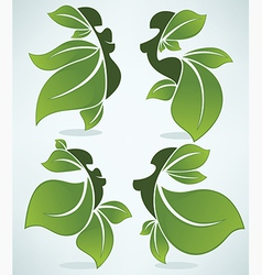 leaves girls vector image