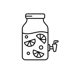 Lemonade in glass jar with tap linear icon of vector