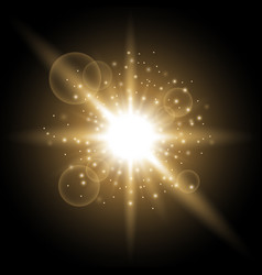 Light circle with stardust golden color vector