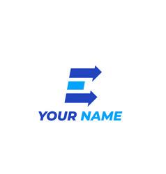 logo mark e letter with arrows vector image