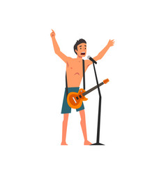 male rock musician playing guitar and singing with vector image