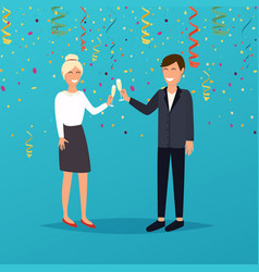 man and woman holding champagne glasses vector image