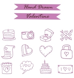 Many icon of valentine day element vector