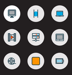 media icons colored line set with stop charge vector image