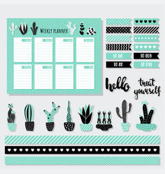 Mint weekly planner vector