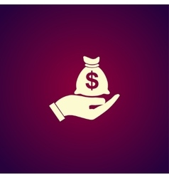 Money insurance sign Hand holds cash bag in vector