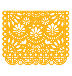 Papel picado floral design with birds vector