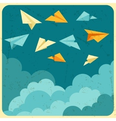 paper planes on the sky with clouds vector image