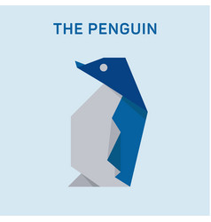 Penguin origami animals modern flat art vector
