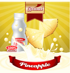 Pineapple yogurt ads splashing scene with package vector
