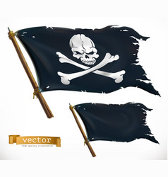 Pirate black flag jolly roger 3d icon vector