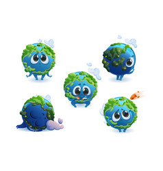 planet earth character with different emotions vector image