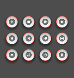player buttons set in paper cut style symbols for vector image