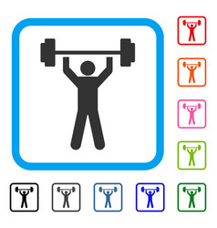 Power lifting framed icon vector