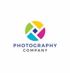 Rainbow photography logo design vector