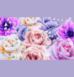 rose flowers background watercolor vector image
