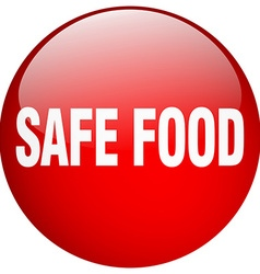 Safe food red round gel isolated push button vector