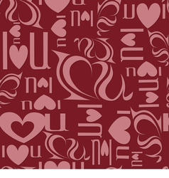 Seamless background from letters I love you vector image